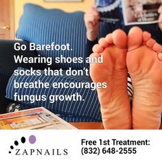 Go barefoot more often to help prevent toenail fungus infections, or their recurrence. http://zapnails.com