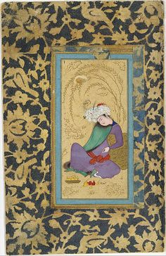 Man in a Fur-Lined Coat Painting by Riza-yi `Abbasi (ca. 1565–1635) Date: ca. 1600 Geography: Iran, Isfahan Medium: Ink, opaque watercolor, and gold on paper Dimensions: H. 5 3/8 in. (13.6 cm) W. 2 1/2 in. (6.4 cm) Metropolitan Museum of Art 55.121.39