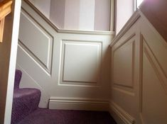 staircase panelling by wall panelling experts Stair Paneling, Wall Panelling, Hall Design, Tile Floor, Home Goods, Home Improvement, Stairs, Corridor, House