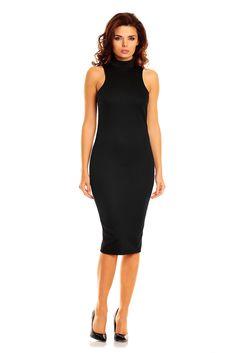 Kobieca suknia w kolorze czarnym o bardzo atrakcyjnym i zniewalającym kroju podkreślającym kobiece kształty