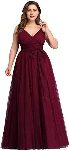 online shopping for Ever-Pretty Women's Plus Size V-Neck Wrap Empire Waist Tulle Bridesmaid Dress from top store. See new offer for Ever-Pretty Women's Plus Size V-Neck Wrap Empire Waist Tulle Bridesmaid Dress Bridesmaid Dresses Plus Size, Mismatched Bridesmaid Dresses, Burgundy Bridesmaid Dresses, Wedding Dresses Plus Size, Plus Size Dresses, Burgundy Dress For Wedding, Evening Dresses, Prom Dresses, Pageant Gowns