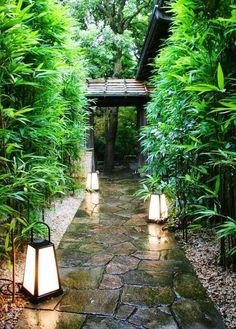 Lush Lantern-lit Irregular Flagstone