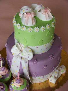 Purple and green baby booties cake