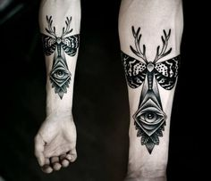 Dotwork Eye Moth Tattoo by Kamil Czapiga