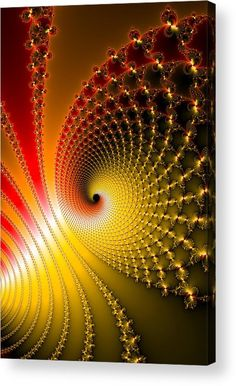 Fractal Spirals Acrylic Print for sale, glossy and vivid red, yellow and orange colors. The image gets printed directly onto the back of a sheet of clear acrylic. The image is the art - it doesn't get any cleaner than that! Click through and check out your options. Matthias Hauser - Art for your Home Decor and Interior Design.