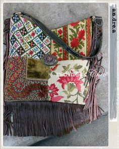 "red.neck Chic introduces ""an.dre.a"" in patches / pocketbook / handmade purse / hobo bag / vintage patchwork / fringe hobo / leather fringe"