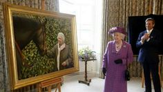 Queen Elizabeth unveils a large photo of herself with a champion horse.