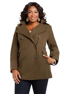 plus size fashion for women / curvy women Double Breasted Coat with Hood