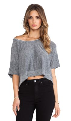 Bella Luxx Micro-Striped Cropped Scoop in Navy & Heather Grey | REVOLVE