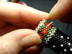 How To Bead Flat Circular Peyote Stitch Add A Lid Snowman Needle Case by Beth Murr ~ Seed Bead Tutorials