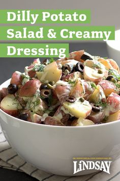 The best Potato Salad recipe! Perfect for picnics and BBQs. We use mayonnaise, champagne vinegar, dijon mustard, fresh dill and black olives in this easy and delicious summer side dish. Picnic Side Dishes, Summer Side Dishes, Best Potato Salad Recipe, Potato Recipes, Summertime Salads, Champagne Vinegar, Olive Recipes, Fresh Dill, Summer Parties