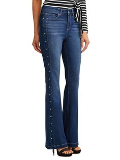 Sofia Jeans by Sofia Vergara Gloria Studded Sides High Waist Stretch Flare Jean Women's (Medium Indigo Wash), Size: Blue Studded Jeans, Plain Tops, Embellished Jeans, Denim Trends, Work Wardrobe, Skinny Pants, Colored Jeans, High Waist Jeans, Flare Jeans