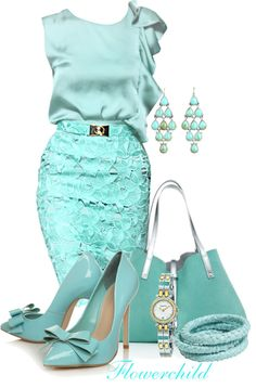 "Apparently this is my signature colour. Thinking back, I somehow always seem to end up in this turquoise-y blue on special occasions. ""Tiffany"" by flowerchild805 ❤ liked on Polyvore"