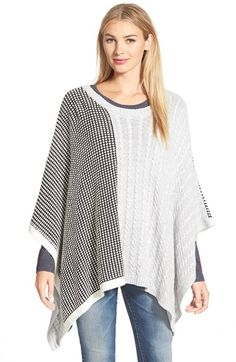 Free shipping and returns on Two by Vince Camuto Cable & Waffle Stitch Knit Poncho at Nordstrom.com. Blocked design that incorporates two different stitches—waffle and cable—brings contemporary appeal and cool texture to a throwback style. The flowy, asymmetrical poncho slips on easily thanks to a generous crewneck at the top.</p>