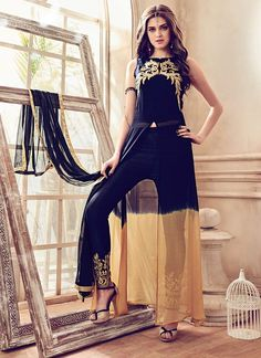 Largest selection of anarkali suits from popular indian online shops. Buy this faux georgette embroidered work black pant style suit.