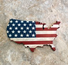 USA Wall Hanging Rustic United States Flag Map by BandGelements
