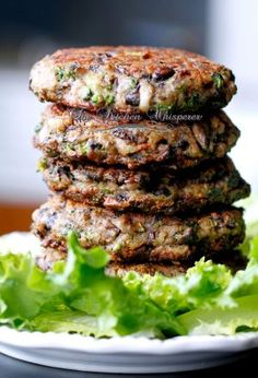 Chunky Portabella Veggie Burgers •THESE ARE SO, SO, SO GOOD!!! But I would suggest you BAKE them at 425 for about 20-25 minutes instead if frying. They fall apart very easily in a pan.