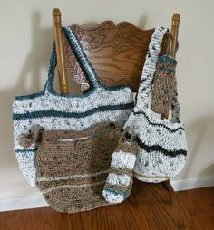 Selection of tote bags made from recycle plastic grocery bags.