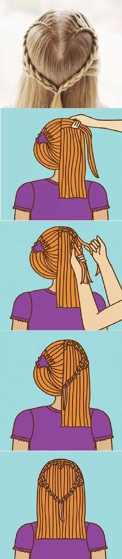 DIY Heart Design Hairstyle DIY Heart Design Hairstyle