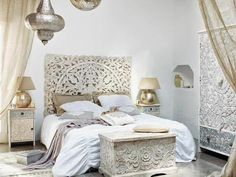 Carved solid mango wood headboard in white kerala white headboard ar - Modele tete de lit contemporain ...