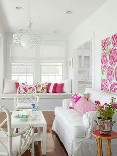 Pink and white family room.