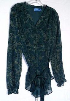 Simply-Vera-Wang-Size-Large-L-Green-Teal-Blue-Sheer-Peasant-Blouse-Tunic-Top