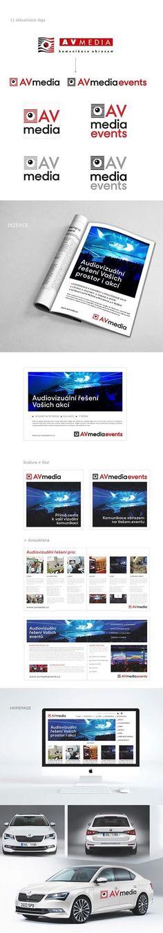 Aktualizujeme logo pro AVmedia a demonstrujeme vizuální identitu na několika příkladech.