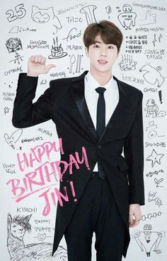 Happy birthday to our JIN oppa. To BTS angel. To the best hyung ever. Jimin, Bts Jin, Bts Bangtan Boy, Bts Boys, Ukiss Kpop, Bts Happy Birthday, 25 Birthday, Bts Birthdays, Army Love