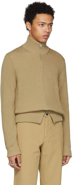 Maison Margiela - Beige High-Neck Zip Sweater