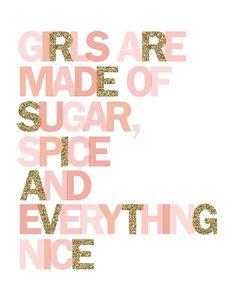 Printable wall art Girls are made of sugar by PrettiestPrintShop