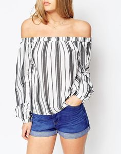 Image 3 of ASOS Woven Off The Shoulder Top in Mono Stripe Print