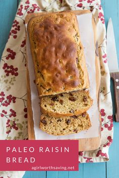 Paleo Raisin Bread that no one will believe it Paleo! It's chewy and holds up well under ghee or jam. Made with a mix of paleo flours, you will love it!