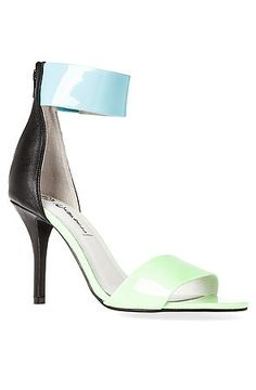 The Inaba Shoe in Green and Blue Glow by Jeffrey Campbell. Sick and tired of the same old boring neutral tone shoes? Grab these fierce shoes and break free. $155