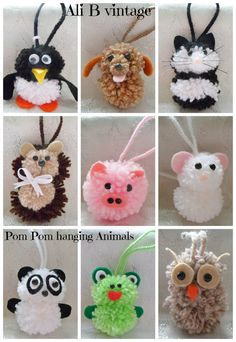 Pom pom creature Etsy listing at https://www.etsy.com/listing/223158925/pom-pom-hanging-animals-in-10-designs