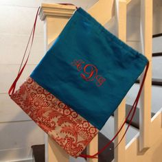 **** Drawstring Bag with Aqua Canvas/Broadcloth and Red Floral Toile Bottom and 3 Letter Signet Monogram ***  Not only is this drawstring cinch