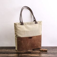 Personalized Handmade Canvas Leather Tote Bag with Pocket, Canvas Handbag with Leather Accents, Shoulder Bag, Work Bag, Laptop Bag for Women 🔸 We accept custom order. Custom Tote Bags, Personalized Tote Bags, Tote Bag With Pockets, Laptop Bag For Women, Laptop Bags, Leather Purses, Leather Bag, Leather Totes, Lv Bags