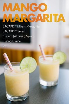 The mango margarita combines the best of the tropics with the best of Mexico for an unforgettable cocktail twist! Blend BACARDI® Mixers Margarita, mango, ice, and your favorite rum for a one-of-a-kind taste that's sure to turn any weekend party or midweek gathering into a fruity fiesta!