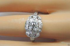 Antique Diamond Engagement Ring Platinum Art Deco Solitaire Vintage Estate Mount #Handmade #SolitairewithAccents