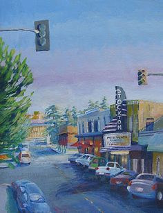 In the twice recognized All American City of Stockton, California, an icon of American living and industry, the white pick-up truck, is parked before another great American icon, the art deco theatre. Located on the Miracle Mile where life travels a little slower with attention to beauty and what counts, American heart, the Empire Theatre is rendered.    Empire Theatre, acrylic/canvas, 49 x 63 cm  More on this artist at www.GalleryPreviewOnLine.com  Copyright (c) Vanessa Hadady