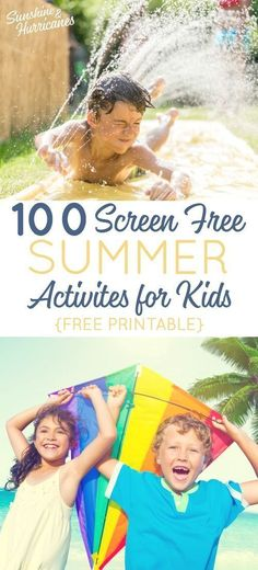100 Screen Free Summer Activities for Kids Toddler To Teen. It's easy to say you want your kids to spend less time on tech, but what will they do instead? We've got 100 ideas for you (includes free printable). Source by sunandhurricane Summer Activities For Teens, Outdoor Summer Activities, Summer Fun For Kids, Toddler Activities, Family Activities, Happy Summer, Kids Fun, All Family, Family Meeting