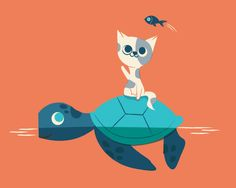 Poster | CAT ON A TURTLE von Jay Fleck | more posters at http://moreposter.de