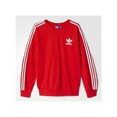 adidas Beckenbauer Sweatshirt ($38) ❤ liked on Polyvore featuring tops, hoodies, sweatshirts, tomato, pullover sweatshirts, adidas sweatshirt, adidas, sweatshirt pullover and adidas tops