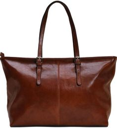 5e014a5acaa4 leather shopping tote bag floto firenze brown Leather Purses
