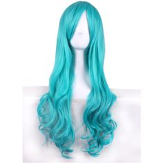 Blue Bleach Nelliel Heat Resistant Long Wavy Anime Cosplay Wig ($29) ❤ liked on Polyvore featuring beauty products, haircare, hair styling tools and blue