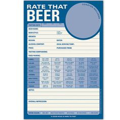 RATE THAT BEER NOTEPAD $6.99