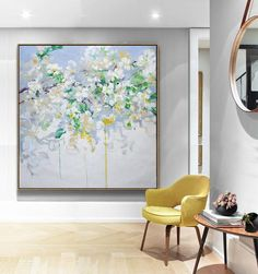 CZ Art Design - Abstract Flower Oil Painting, large abstract floral art, textured painting @CelineZiangArt