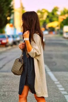 oversized cardigan sweater blue dress bracelet handbag summer outfit fashion style clothing women apparel casual street | Gloss Fashionista