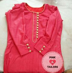 Beautiful kurti design have been tailored at pink tailors For more information call us or whatsapp us at Salwar Suit Neck Designs, Kurta Neck Design, Salwar Designs, Chudi Neck Designs, Dress Neck Designs, Blouse Designs, Piping Design, Kurti Sleeves Design, Indian Designer Wear