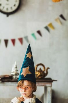 wizard party theme with eclectic velvet wizards hat