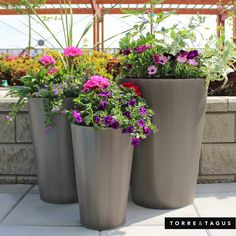 Surround yourself with the beauty of summer flowers on your patio - these tiered Carbon Metal Planters create the perfect layering effect to fill up any area. #TorreAndTagus #PatioPerfect #HomeDecor #MetalPlanters www.torretagus.com